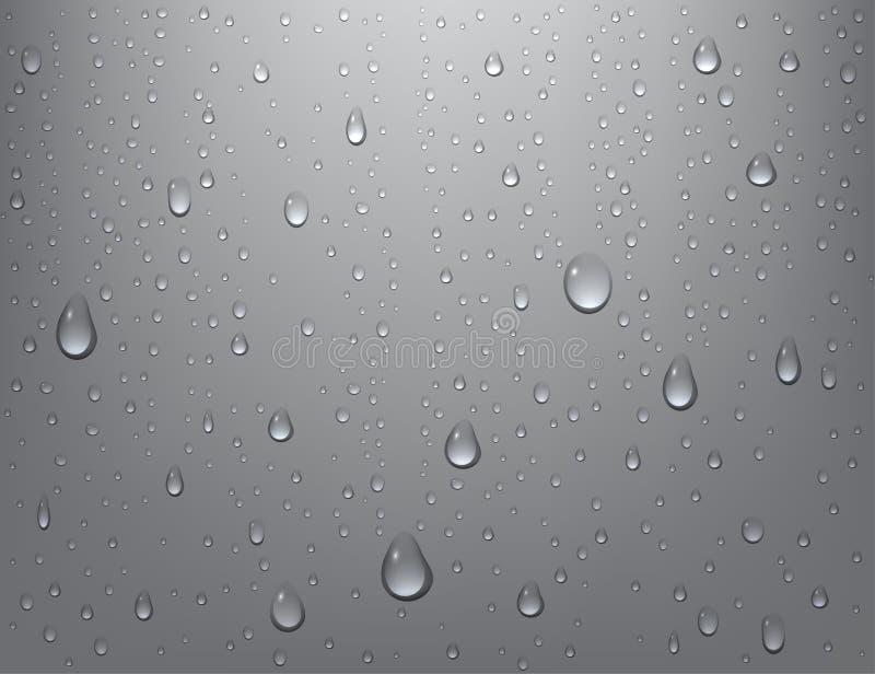 Gocce di acqua pure realistiche su fondo isolato Condensazione della doccia del vapore su superficie verticale Illustrazione di v illustrazione di stock