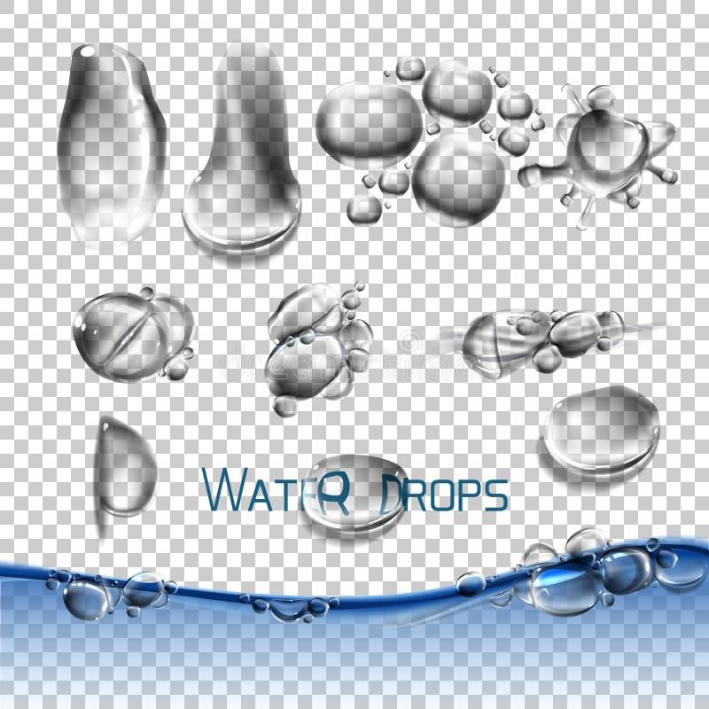 Gocce di acqua stabilite di vettore, trasparenti illustrazione di stock