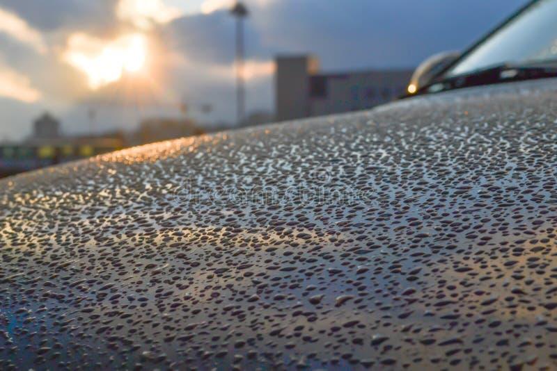 Gocce di acqua sul cappuccio dell'automobile nella luce di tramonto, rispecchiantesi , riflessione Gioco di colore Priorità bassa fotografia stock