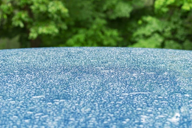 Gocce di acqua sulla superficie di metallo blu con le foglie verdi dietro sottragga la priorità bassa fotografia stock libera da diritti