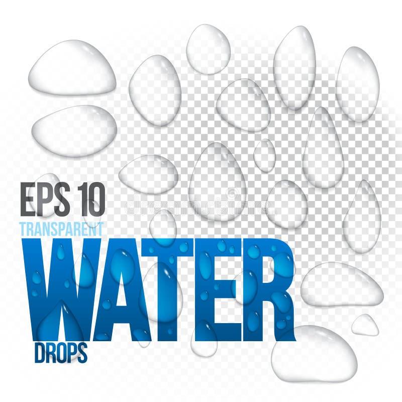 Gocce di acqua traslucide realistiche di vettore chiare illustrazione di stock