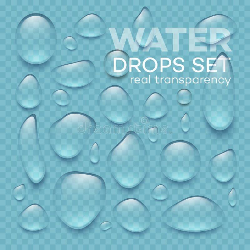 Gocce di acqua trasparenti realistiche messe Illustrazione di vettore royalty illustrazione gratis