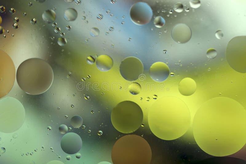 Gocce di di olio in acqua su un fondo colorato Fondo luminoso con i cerchi gialli, blu e verdi delle dimensioni differenti fotografia stock