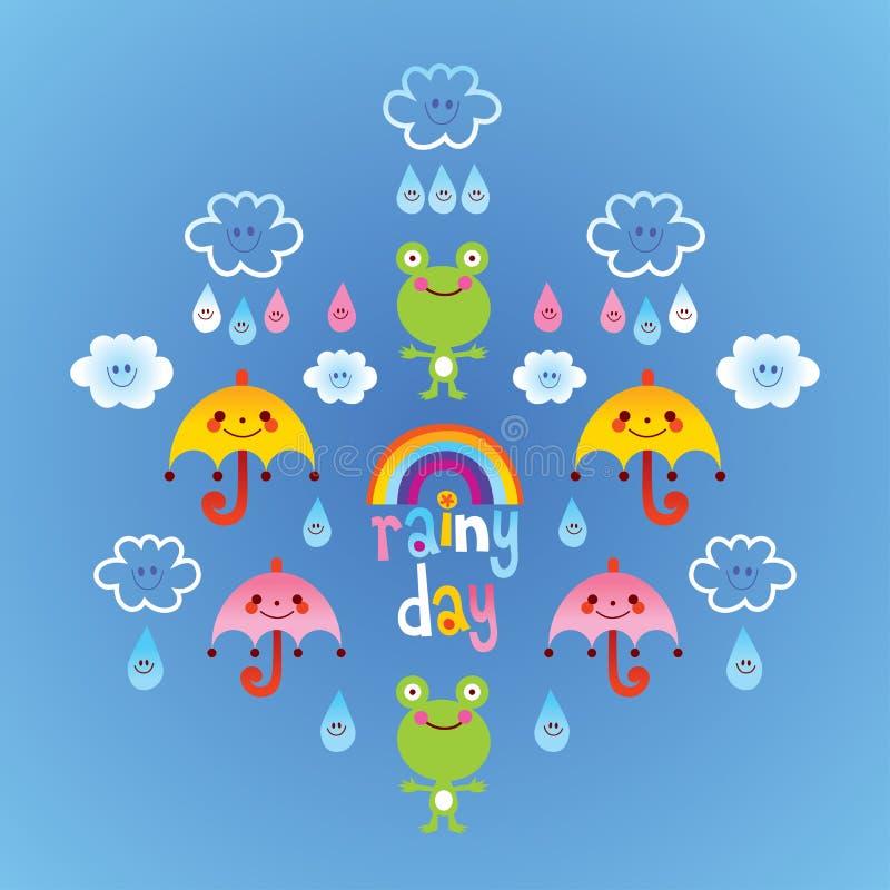 Gocce di pioggia degli ombrelli delle nuvole delle rane di giorno piovoso illustrazione vettoriale