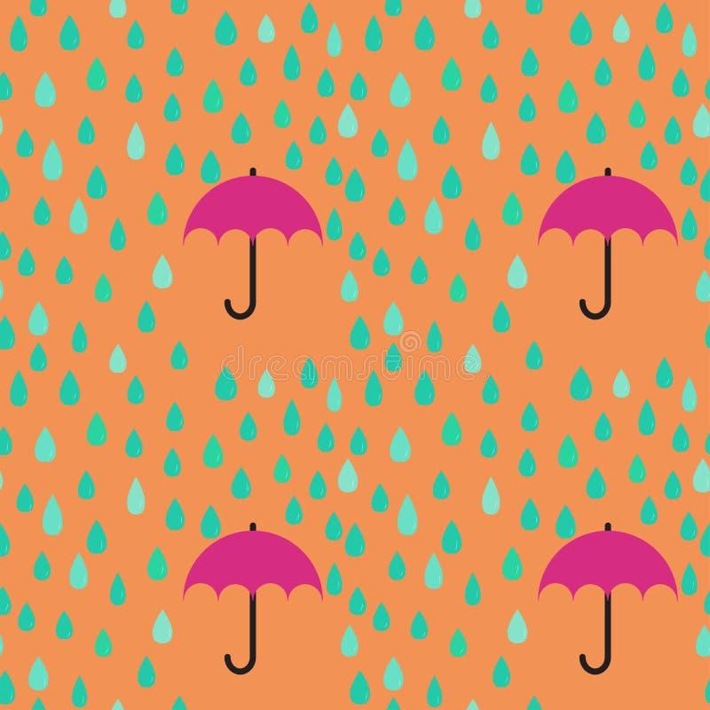 Gocce di pioggia e fondo senza cuciture del modello dell'ombrello; co editabile illustrazione vettoriale