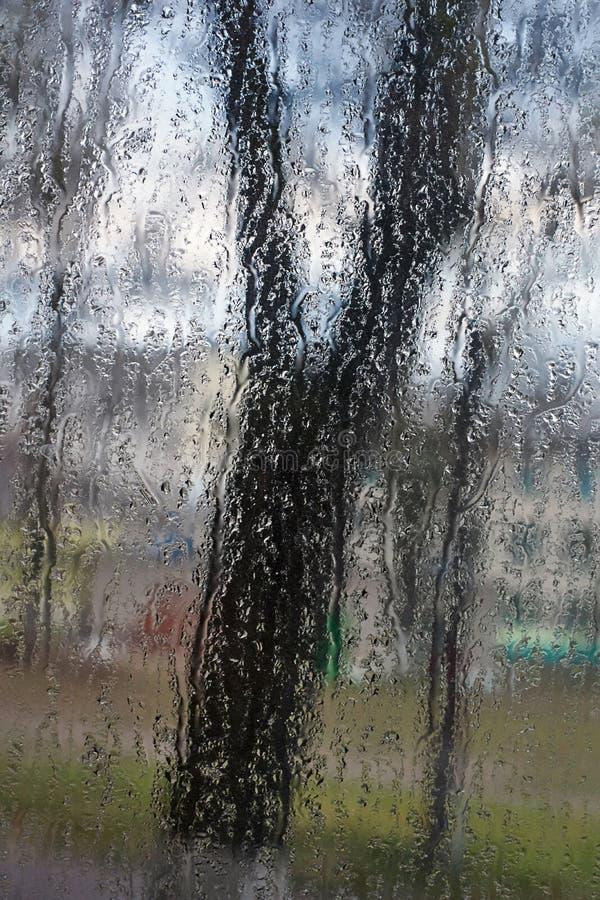 Gocce di pioggia sul vetro di finestra fotografia stock