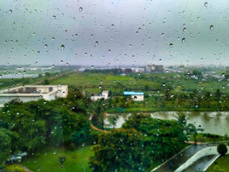 Gocce di pioggia sulla finestra con gli alberi e la strada verdi del catrame immagine stock