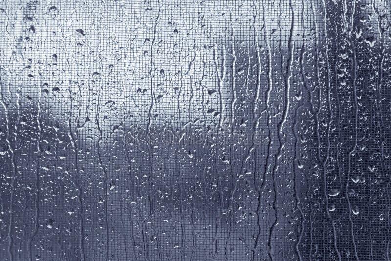 Gocce di pioggia sulla finestra con la rete di mosqito immagine stock libera da diritti