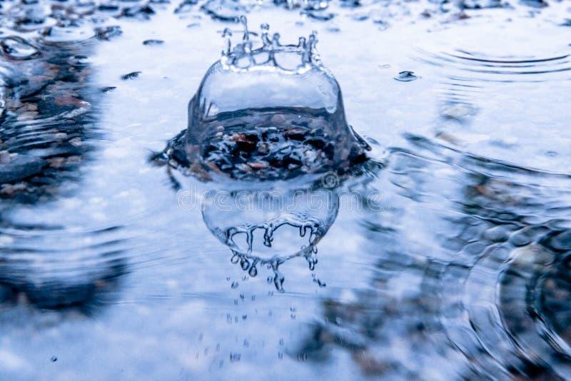 Gocce di pioggia sulla superficie dell'acqua immagini stock libere da diritti