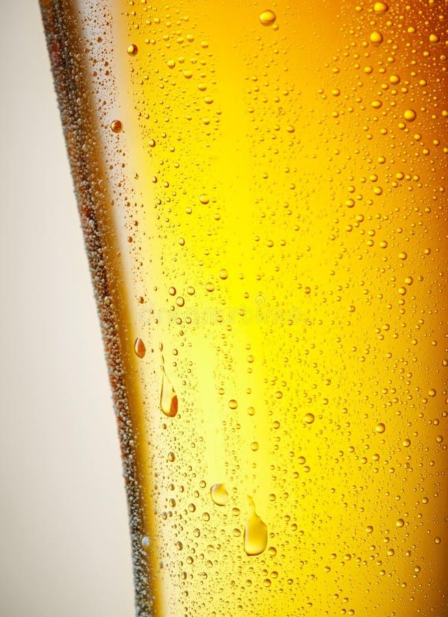 Gocce di una pinta ghiacciata di birra fotografie stock