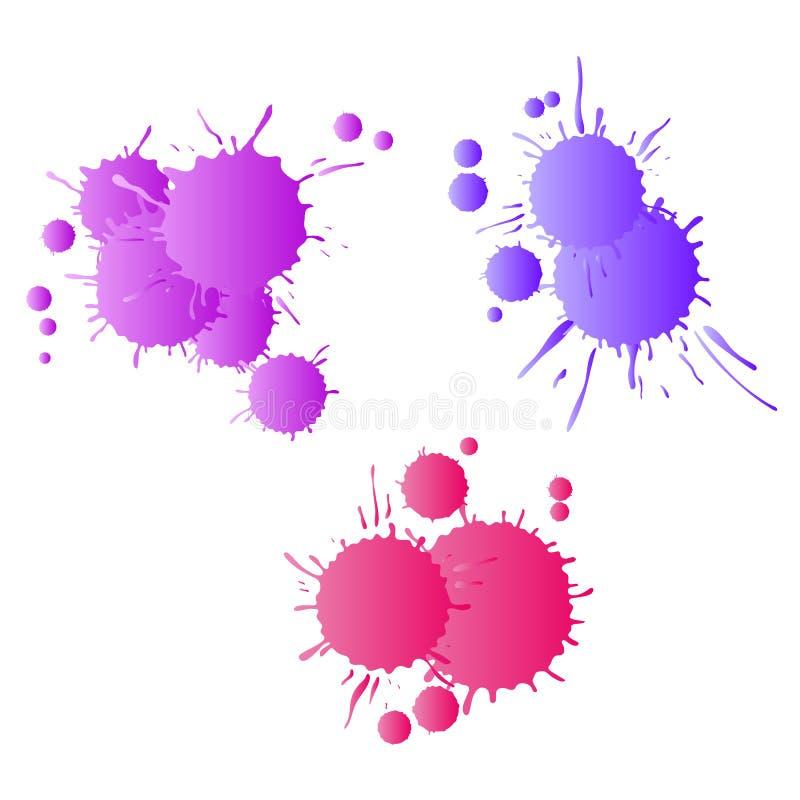 Gocce lilla porpora rosse della pittura dell'acquerello illustrazione di stock