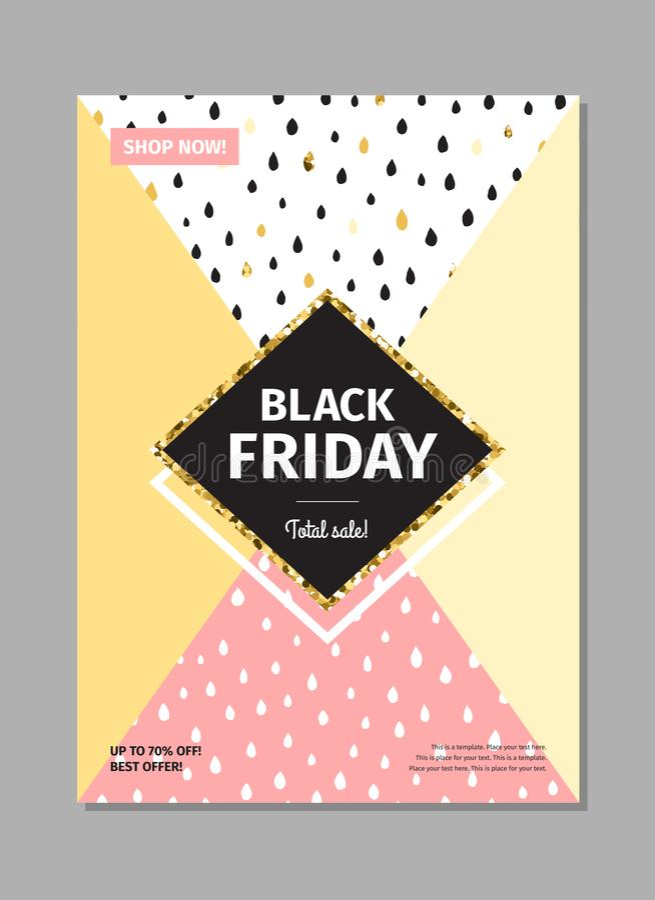 Gocce nere dell'inchiostro di venerdì, colori pastelli e posta di verticale del goldsale illustrazione di stock