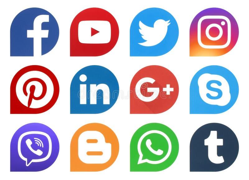 Gocce sociali popolari delle icone di media
