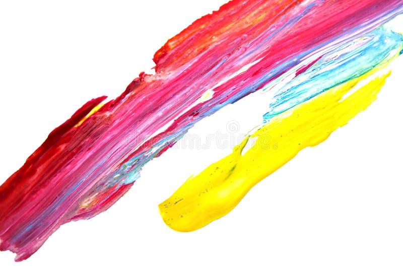 Gocce variopinte, gocce lucide isolate su fondo bianco, gocce della pittura ad olio dello smalto immagini stock libere da diritti