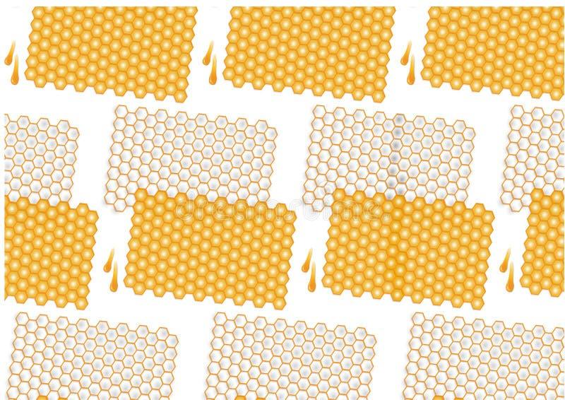 Goccia del miele e modello del pettine, illustrazione di vettore royalty illustrazione gratis
