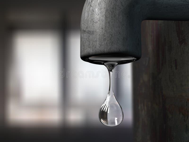 Goccia dell'acqua che pende da un meta royalty illustrazione gratis