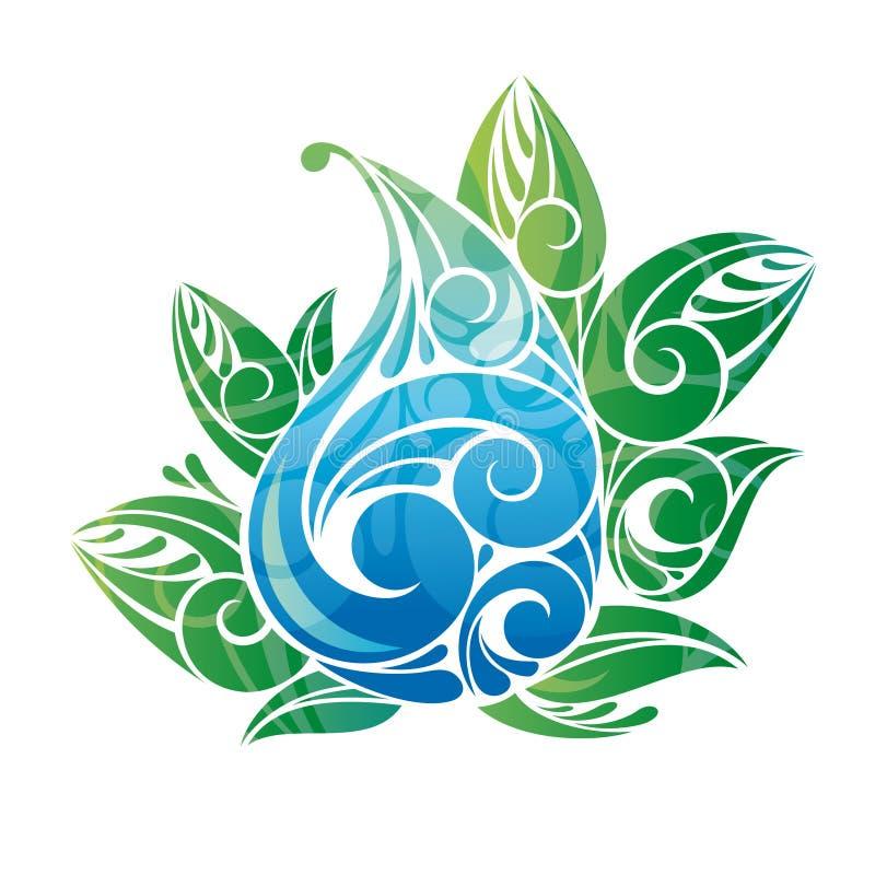 Goccia dell'acqua con i fogli verdi royalty illustrazione gratis