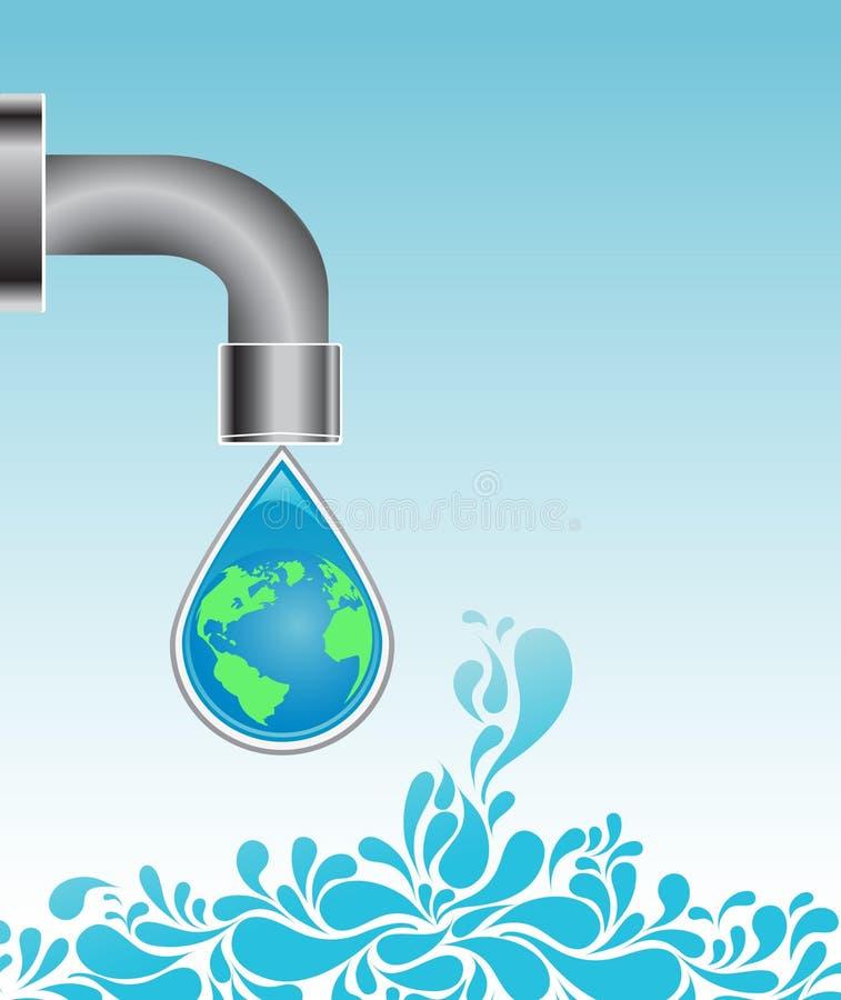 Goccia dell'acqua con il globo della terra illustrazione di stock
