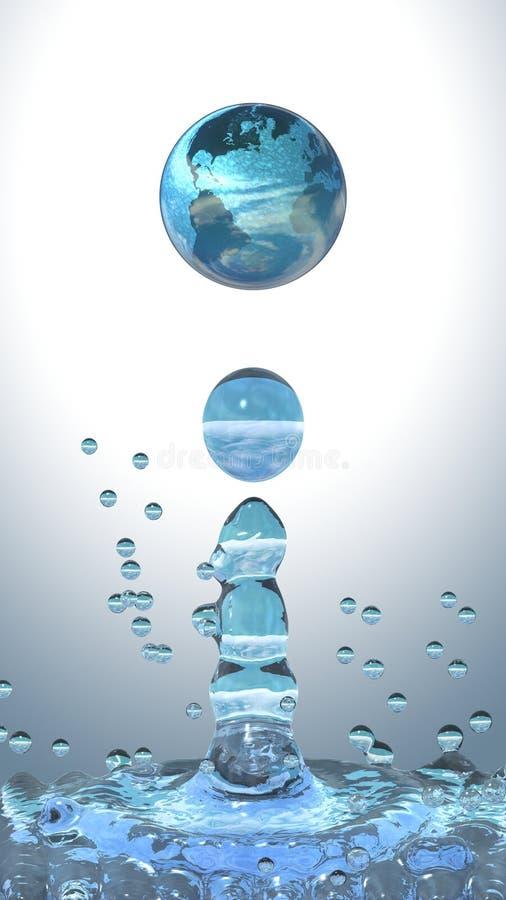 Goccia dell'acqua con terra illustrazione vettoriale