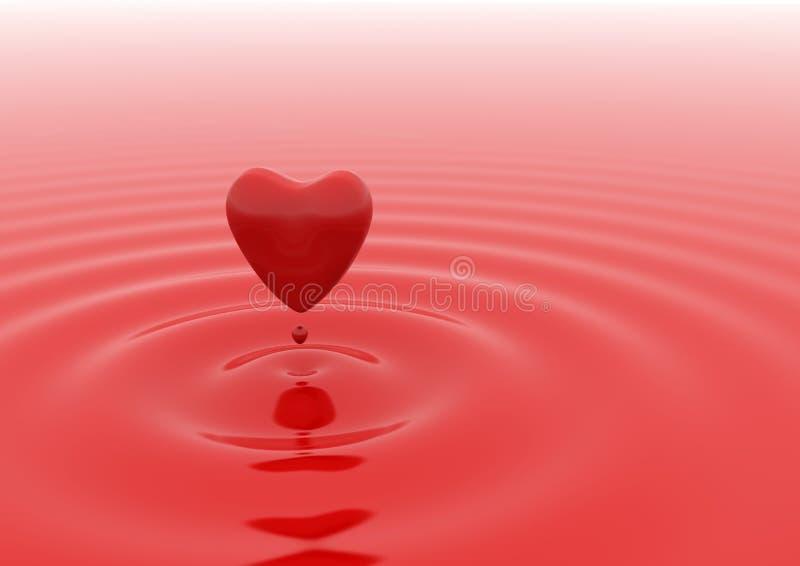 Goccia dell'acqua rossa del cuore illustrazione di stock