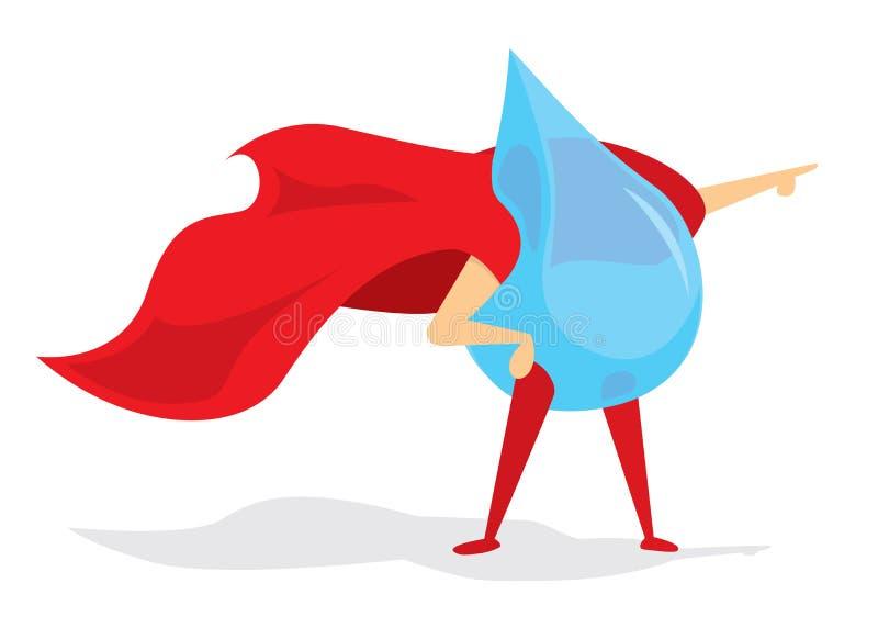 Goccia dell'eroe eccellente dell'acqua con capo illustrazione di stock