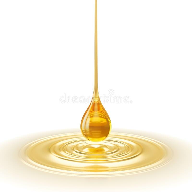 Goccia dell'olio con l'ondulazione, il liquido giallo dorato o l'illustrazione dell'olio di lubrificante del motore 3d fotografia stock