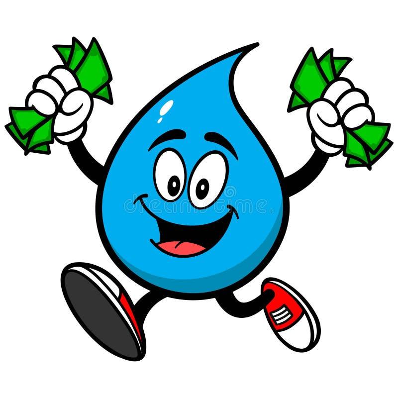 Goccia di acqua con soldi illustrazione vettoriale
