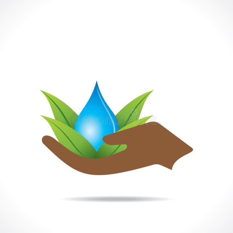 Goccia di acqua creativa di posa di yoga nel concetto verde della foglia a disposizione con la foglia verde royalty illustrazione gratis