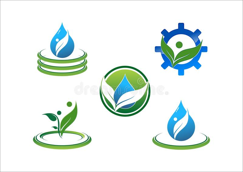 Goccia di acqua, ecologia dell'acqua, foglia, cerchio, collegamento, la gente, simbolo, logo di vettore dell'ingranaggio illustrazione vettoriale