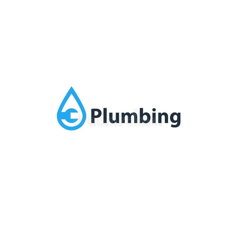 Goccia di acqua ed icona e logo dell'impianto idraulico della chiave illustrazione vettoriale