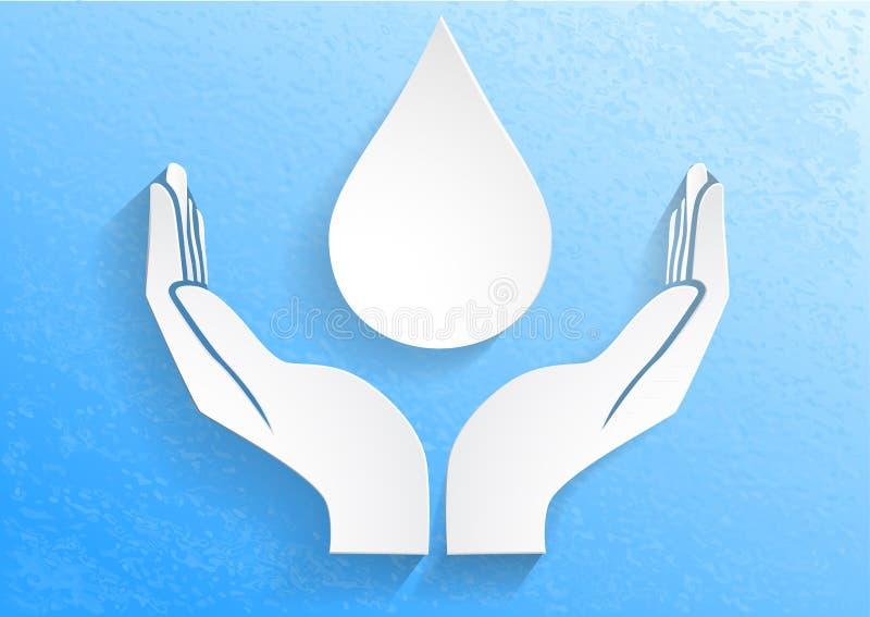 Goccia di acqua in mani aperte illustrazione di stock