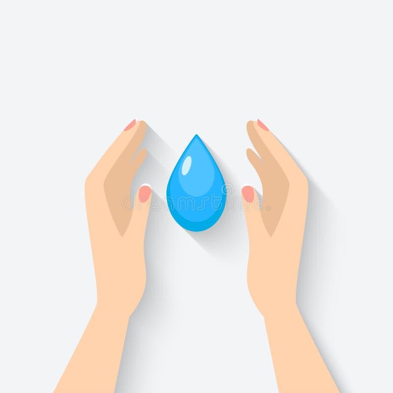Goccia di acqua nel simbolo delle mani royalty illustrazione gratis