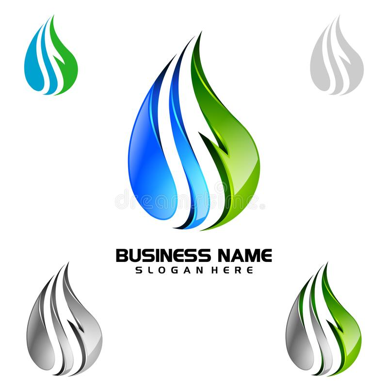 Goccia di acqua, olio, gas, progettazione blu di logo di vettore della goccia di acqua 3d illustrazione di stock