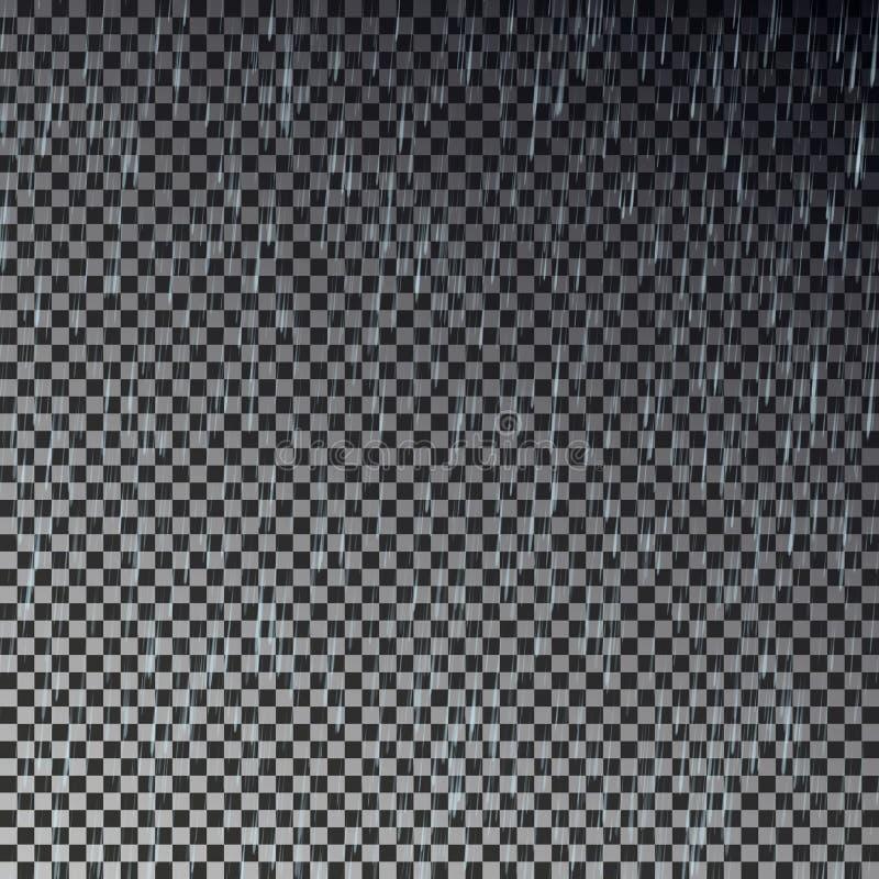 Goccia di pioggia trasparente Vettore di caduta della pioggia illustrazione di stock
