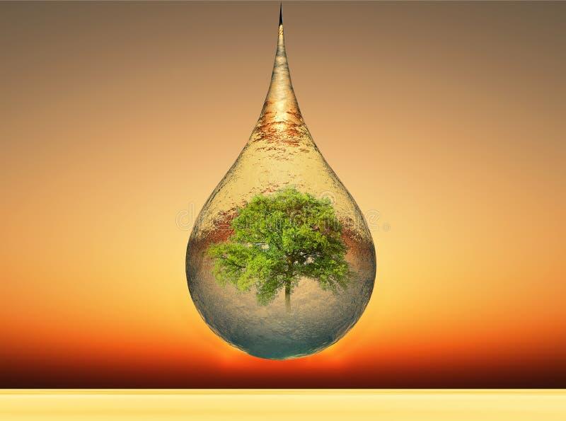 Goccia ed albero royalty illustrazione gratis
