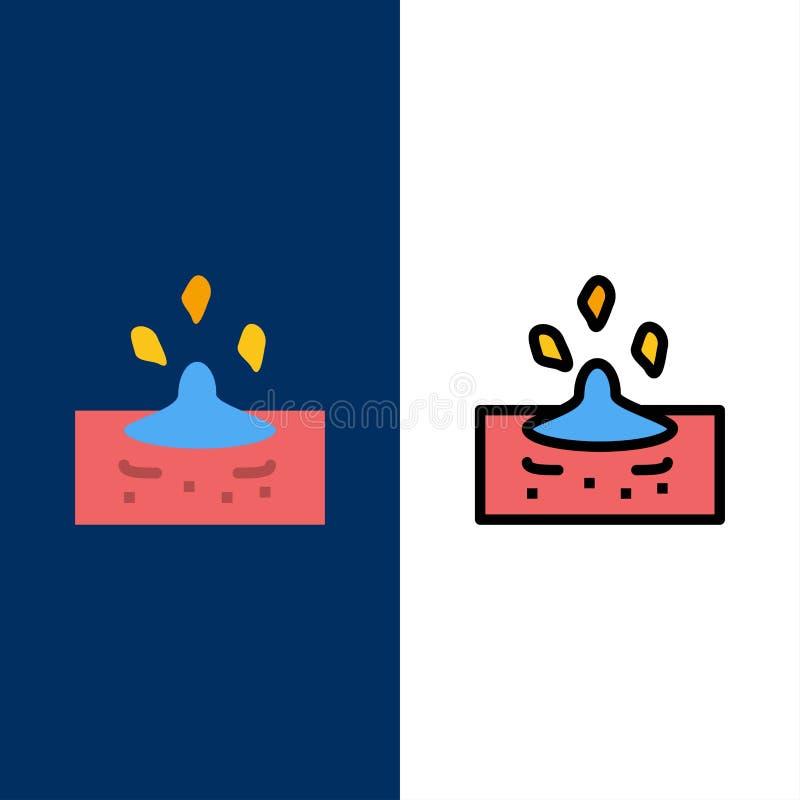 Goccia, pioggia, piovosa, icone dell'acqua Il piano e la linea icona riempita hanno messo il fondo blu di vettore royalty illustrazione gratis