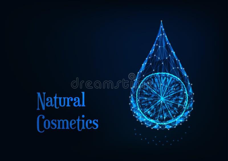 Goccia poligonale bassa d'ardore futuristica dell'olio essenziale con la fetta del limone su fondo blu scuro royalty illustrazione gratis