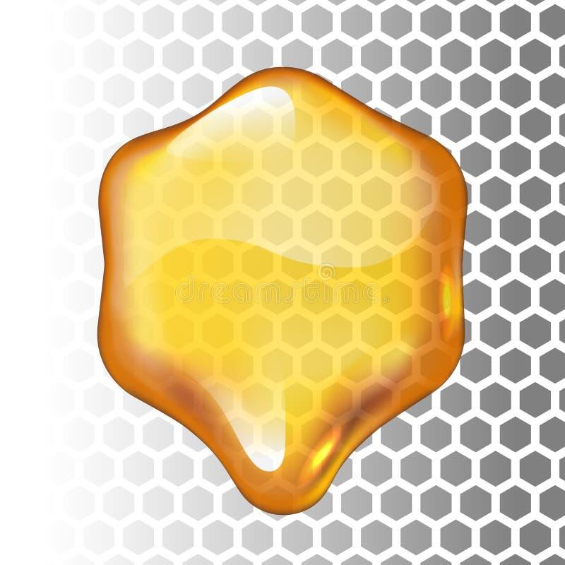 Goccia realistica del miele di vettore Esagono su fondo trasparente royalty illustrazione gratis