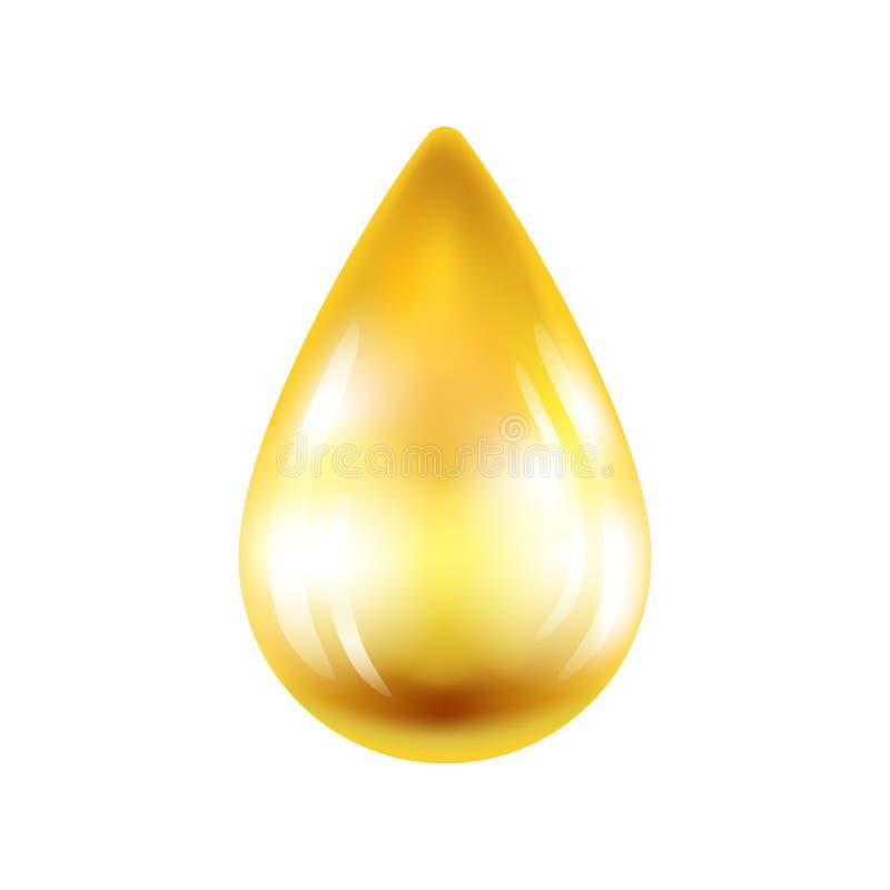 Goccia realistica di olio isolata su fondo bianco Illustrazione di vettore illustrazione di stock