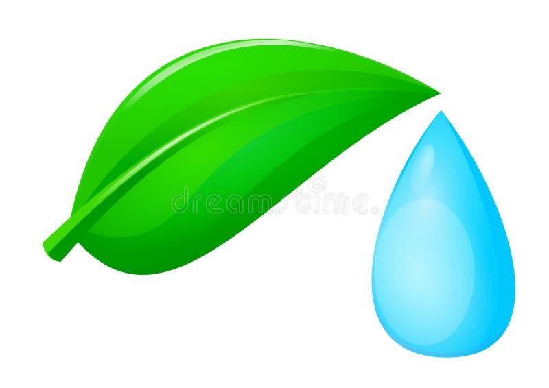 Goccia verde dell'acqua e del foglio illustrazione vettoriale