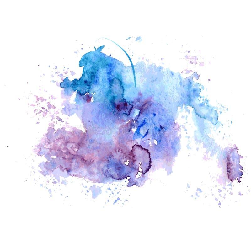 Gocciolamenti blu-rossi della macchia dell'acquerello luminoso Illustrazione astratta su un fondo bianco Vettore illustrazione di stock