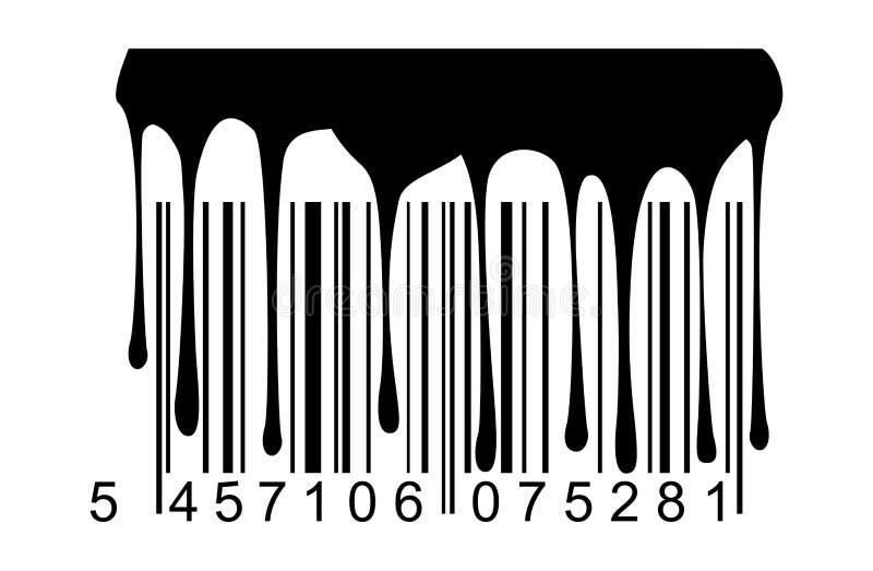 Gocciolamenti neri della vernice del codice a barre illustrazione di stock