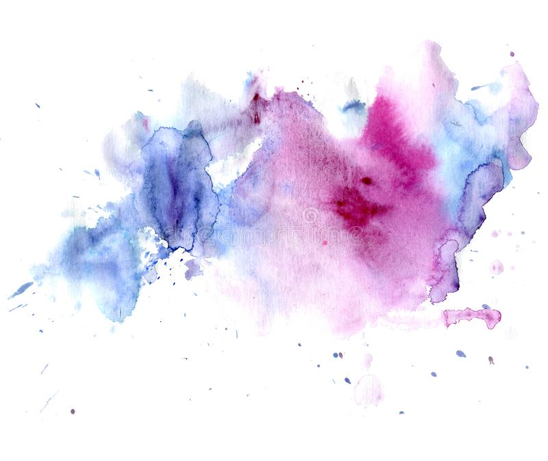 Gocciolamenti rosa e blu dell'acquerello luminoso della macchia Illustrazione astratta su un fondo bianco royalty illustrazione gratis