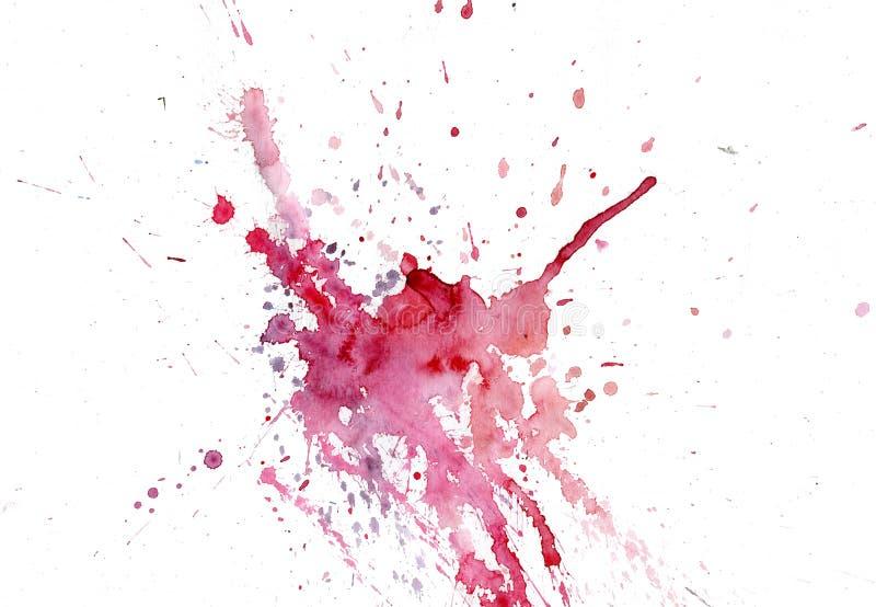 Gocciolamenti rosa-rosso della macchia dell'acquerello luminoso Illustrazione astratta su un fondo bianco Insegna per testo, elem illustrazione di stock