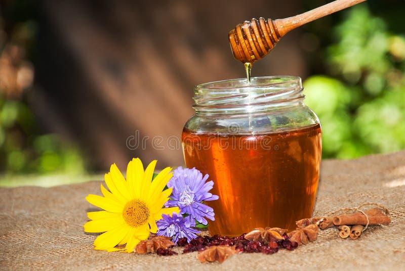 Gocciolamento del miele in barattolo sulla tavola fotografia stock