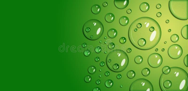 Goccioline di acqua su una superficie giallo verde fatta in un modo realistico Forma naturale, ombre e punti culminanti fotografia stock libera da diritti