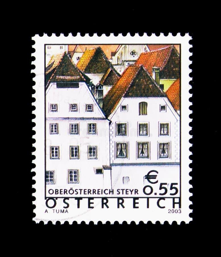 Goccy domy, Steyr, Górnego Austria, Wakacyjny ser kraju Austria zdjęcie stock