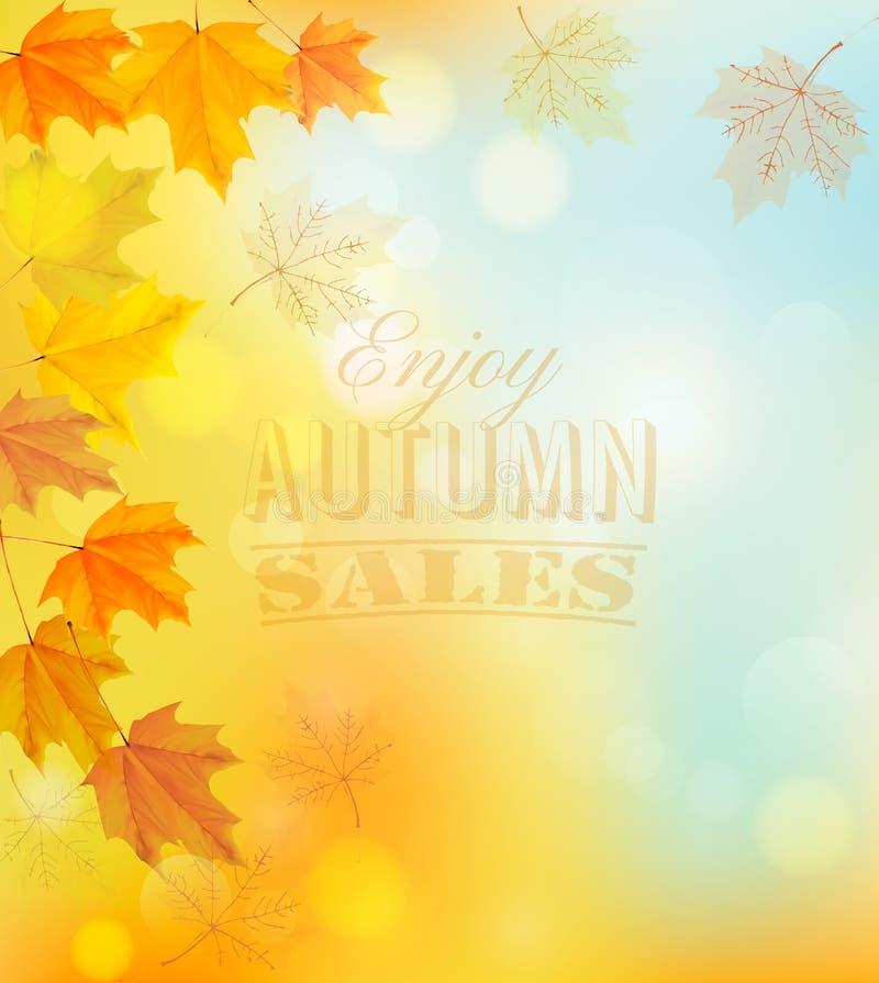 Goce de Autumn Sales Banner con las hojas coloridas stock de ilustración
