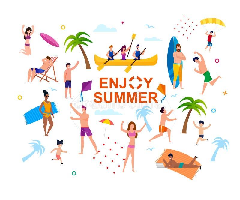 Goce de la bandera abstracta del verano con la gente feliz libre illustration