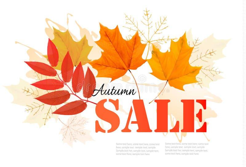 Goce de la bandera de Autumn Sales con las hojas de otoño stock de ilustración